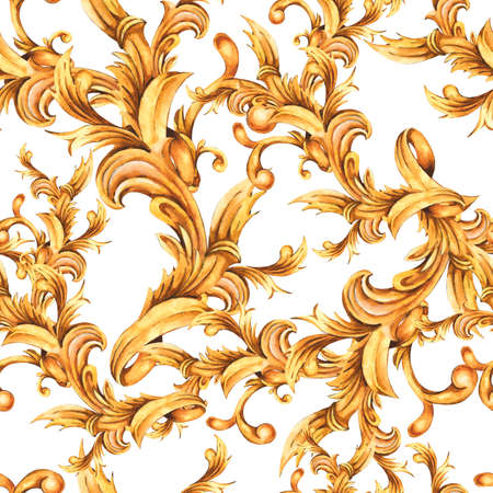 Watercolor golden baroque floral seamless pattern with curl, rococo ornament.