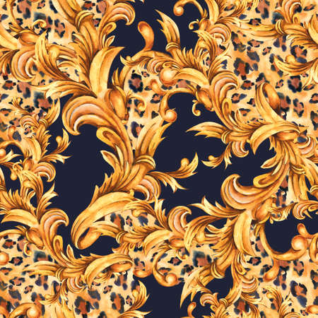 Watercolor animal print with golden baroque seamless pattern, rococo ornament texture Zdjęcie Seryjne