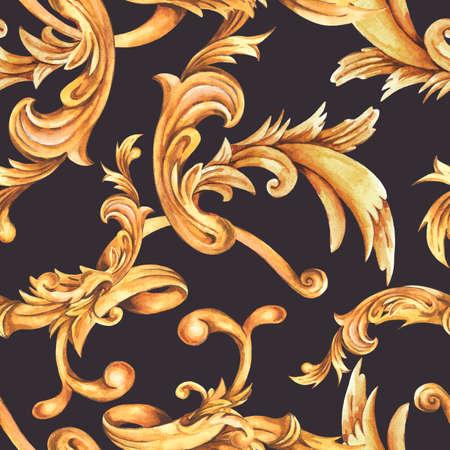 Watercolor golden baroque seamless pattern, rococo ornament texture. Zdjęcie Seryjne