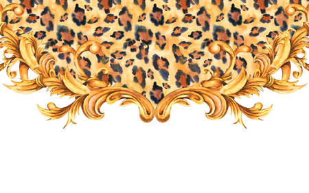 Watercolor animal print with golden baroque greeting card, rococo ornament frame.