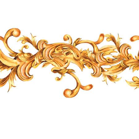 Watercolor golden baroque floral seamless border with curl, rococo ornament.