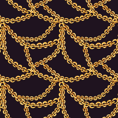 Watercolor fashion gold rings and chains seamless pattern, vintage luxury elements on black Zdjęcie Seryjne