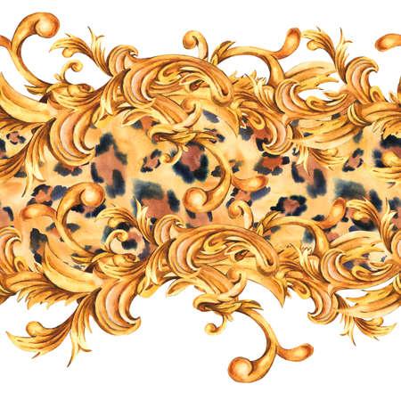 Watercolor seamless border with animal print. Golden baroque rococo ornament pattern Zdjęcie Seryjne