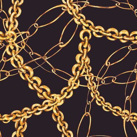 Watercolor gold chains and rings seamless pattern, fashion vintage luxury elements on black