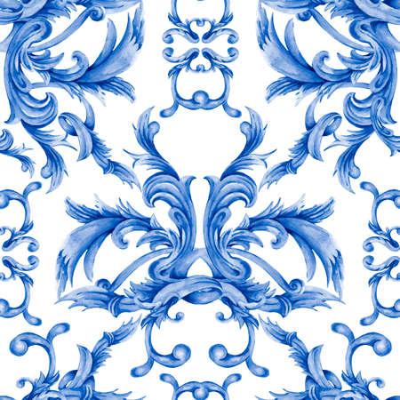 Watercolor blue baroque seamless pattern, rococo ornament texture.