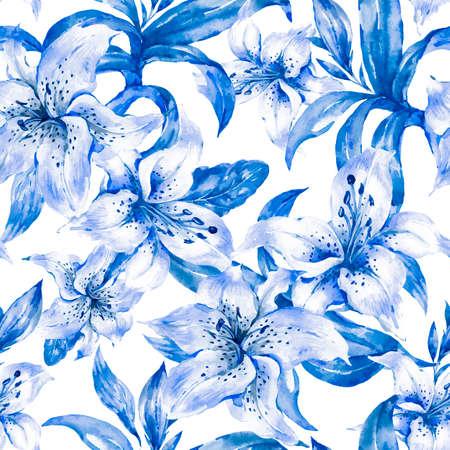 Blue Lily Seamless Pattern, Watercolor Royal Lilies Flowers Zdjęcie Seryjne