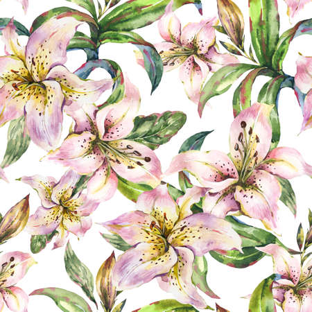 White Lily Seamless Pattern, Watercolor Royal Lilies Flowers