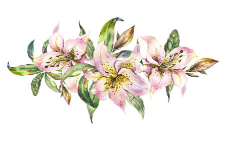 White Lily, Watercolor Royal Lilies Flowers Garland