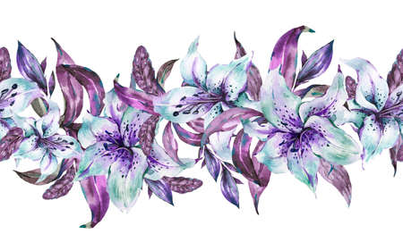 White Lily Seamless Border, Watercolor Blue Royal Lilies Flowers Stock Photo