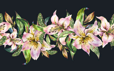White Lily Seamless Border, Watercolor Royal Lilies Flowers