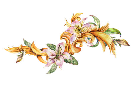 Watercolor golden baroque floral curl with royal lilies
