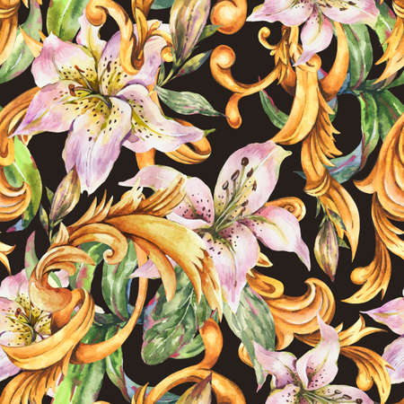 Watercolor golden baroque seamless pattern with white royal lilies.