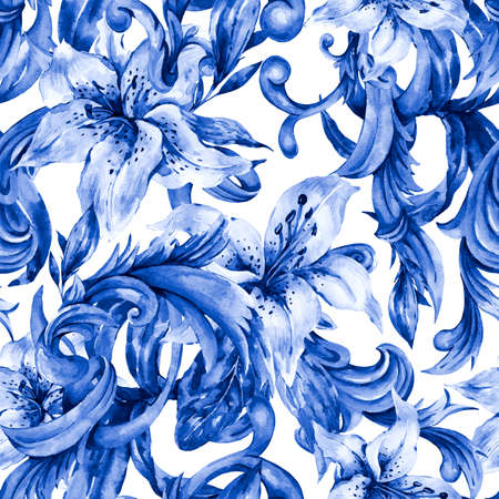 Watercolor blue baroque seamless pattern with white royal lilies.
