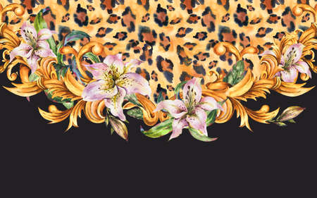 Watercolor White Royal Lilies, animal print with golden baroque ornament frame