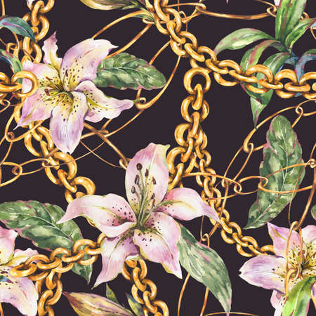 Watercolor gold chains and rings seamless pattern with white royal lilies