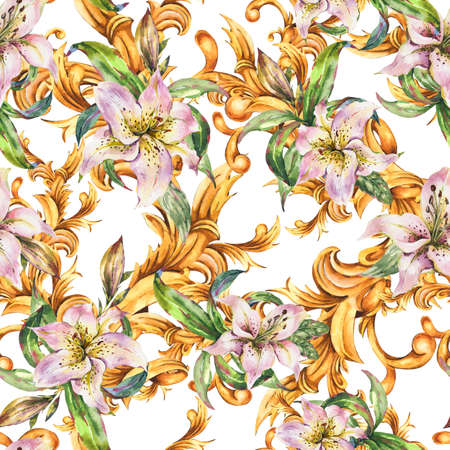 Watercolor golden baroque seamless pattern with white royal lilies Zdjęcie Seryjne