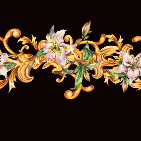 Watercolor golden baroque seamless border with white royal lilies.