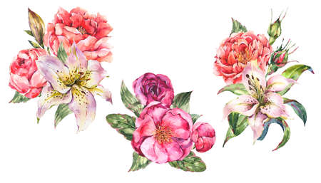 Set of Vintage Watercolor bouquets with Blooming Flowers