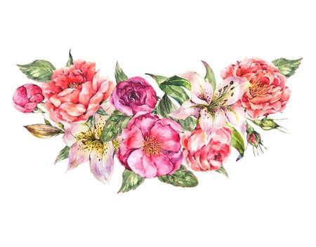 Vintage Watercolor Wreath with Blooming Flowers.
