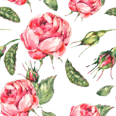 Floral Seamless pattern of Classical Watercolor Vintage Red Rose, Leaves, Buds.