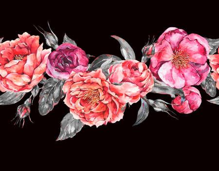 Vintage Watercolor Seamless Border with Blooming Flowers. Zdjęcie Seryjne