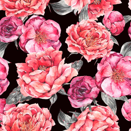 Vintage Watercolor Seamless Pattern with Blooming Flowers