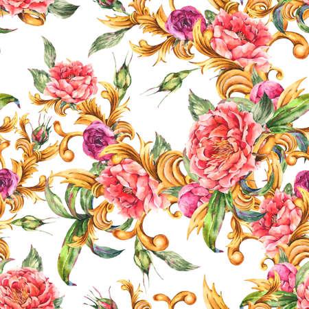 Watercolor golden baroque floral curl with blooming flowers seamless pattern. Zdjęcie Seryjne