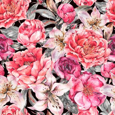 Vintage Watercolor Seamless Pattern with Blooming Flowers. Zdjęcie Seryjne