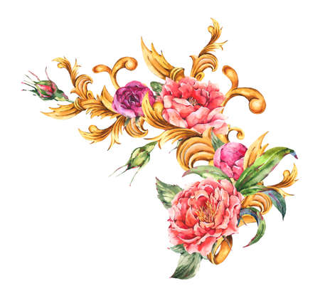 Watercolor golden baroque floral curl with blooming flowers.