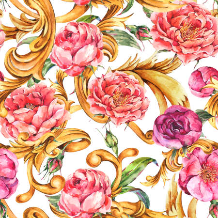 Watercolor vintage golden baroque seamless pattern with pink blooming flowers.
