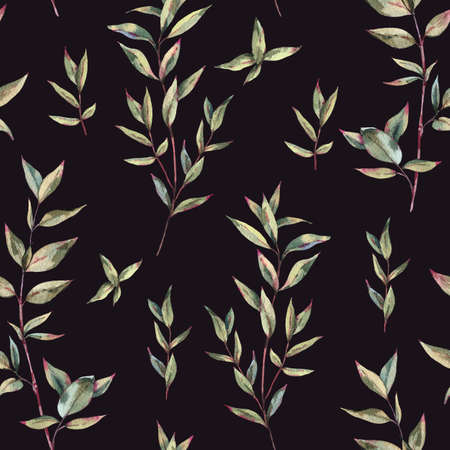Watercolor Myrtle. Vintage Watercolor Seamless Pattern with Green Leaves, Twigs, Branches of Myrtle.