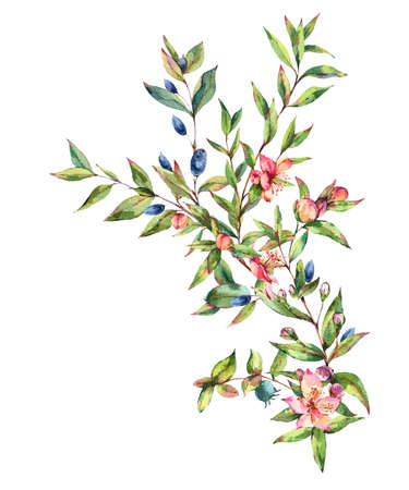 Watercolor Myrtle. Vintage Watercolor Greeting Card with Green Leaves, Twigs, Branches, Blooming flowers of Myrtle.