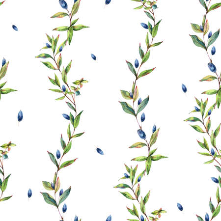 Watercolor Myrtle. Vintage Watercolor Seamless Pattern with Green Leaves, Twigs, Berries, Branches of Myrtle.