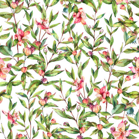 Botanical Myrtle. Vintage Watercolor Seamless Pattern with Green Leaves, Twigs, Berries, Branches of Myrtle.