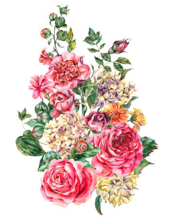 Watercolor Vintage Floral Bouquet with Pink Roses, Hydrangea, Snail and Wild Flowers, Botanical Greeting Card, Watercolor illustration on White Background