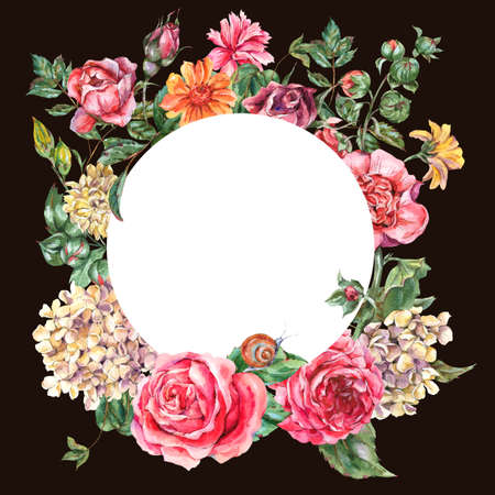 Watercolor Vintage Floral Round Frame with Pink Roses, Hydrangea, Snail and Wild Flowers, Botanical Greeting Card, Watercolor illustration on Black Background Stock Photo