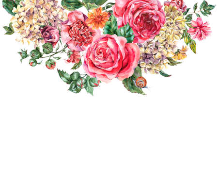 Watercolor Vintage Floral Bouquet with Pink Roses, Hydrangea, Snail and Wild Flowers, Botanical Greeting Card, Watercolor illustration on White Background 版權商用圖片