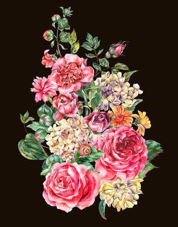 Watercolor Vintage Floral Bouquet with Pink Roses, Hydrangea, Snail and Wild Flowers, Botanical Greeting Card, Watercolor illustration on Black Background