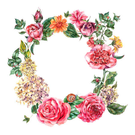 Watercolor Vintage Floral Wreath with Pink Roses, Hydrangea, Snail and Wild Flowers, Botanical Round Frame, Watercolor illustration on White Background