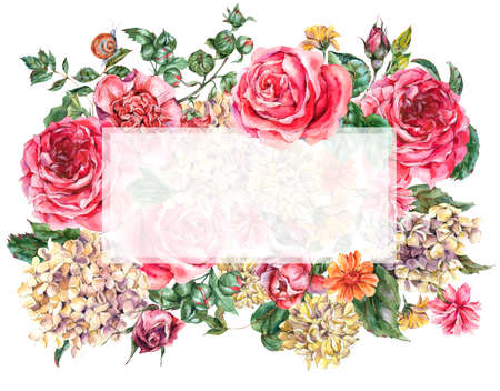 Watercolor Vintage Floral Frame with Pink Roses, Hydrangea, Snail and Wild Flowers, Botanical Greeting Card, Watercolor illustration Isolated on White Background Stock Photo
