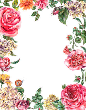 Watercolor Vintage Floral Frame with Pink Roses, Hydrangea, Snail and Wild Flowers, Botanical Greeting Card, Watercolor illustration Isolated on White Background 版權商用圖片 - 131699212