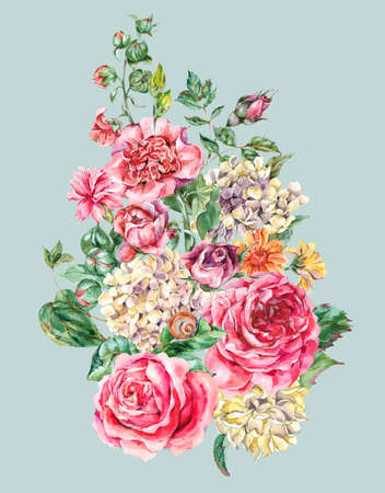 Watercolor Vintage Floral Bouquet with Pink Roses, Hydrangea, Snail and Wild Flowers, Botanical Greeting Card, Watercolor illustration on Blue Background Stock Photo