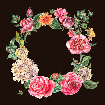 Watercolor Vintage Floral Wreath with Pink Roses, Hydrangea, Snail and Wild Flowers, Botanical Round Frame, Watercolor illustration on Black Background