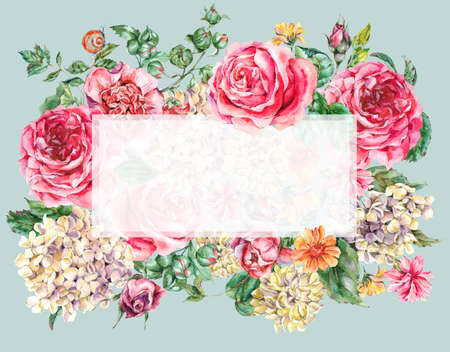 Watercolor Vintage Floral Frame with Pink Roses, Hydrangea, Snail and Wild Flowers, Botanical Greeting Card, Watercolor illustration Isolated on Blue Background