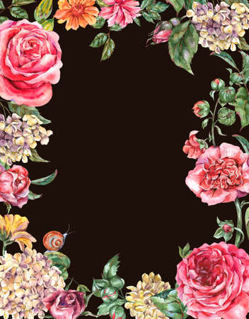 Watercolor Vintage Floral Frame with Pink Roses, Hydrangea, Snail and Wild Flowers, Botanical Greeting Card, Watercolor illustration Isolated on Black Background 版權商用圖片 - 131699052