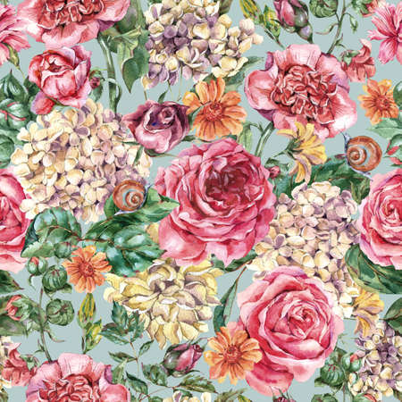 Watercolor Vintage Floral Seamless Pattern with Pink Roses, Hydrangea, Snail and Wild Flowers, Botanical Texture, Watercolor illustration on Blue Background