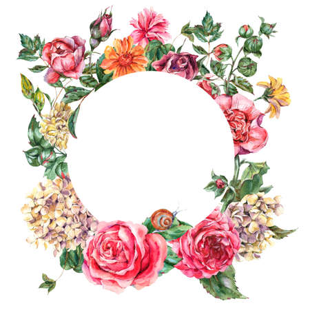 Watercolor Vintage Floral Round Frame with Pink Roses, Hydrangea, Snail and Wild Flowers, Botanical Greeting Card, Watercolor illustration on White Background