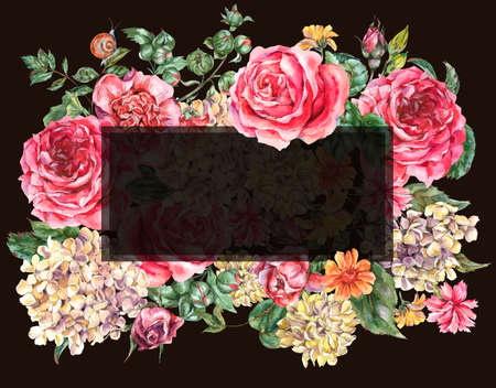 Watercolor Vintage Floral Frame with Pink Roses, Hydrangea, Snail and Wild Flowers, Botanical Greeting Card, Watercolor illustration Isolated on Black Background