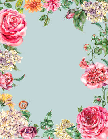 Watercolor Vintage Floral Frame with Pink Roses, Hydrangea, Snail and Wild Flowers, Botanical Greeting Card, Watercolor illustration Isolated on Blue Background 版權商用圖片 - 131698938