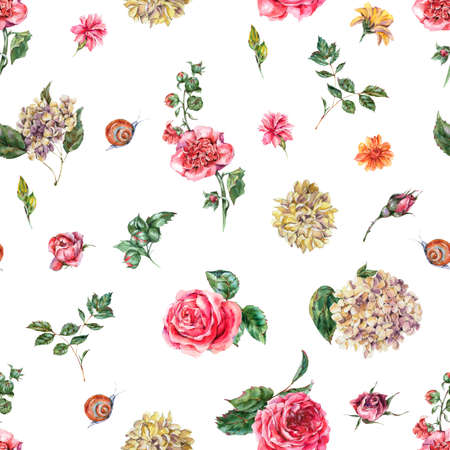 Cute Watercolor Vintage Floral Seamless Pattern with Pink Roses, Hydrangea, Snail and Wild Flowers, Botanical Texture, Watercolor illustration on White Background